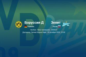 Боруссия Дортмунд - Зенит 28.10.2020 прямая трансляция