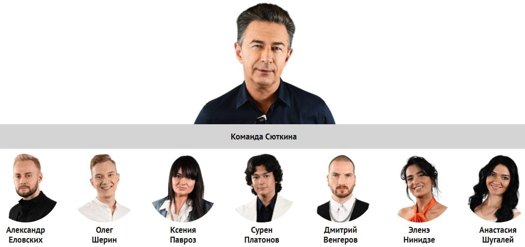 Состав команды Сюткина в проекте Голос