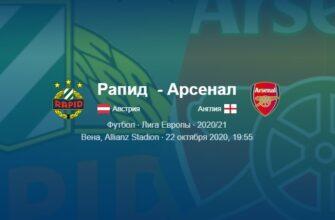 Рапид - Арсенал: видео обзор матча от 22.10.2020